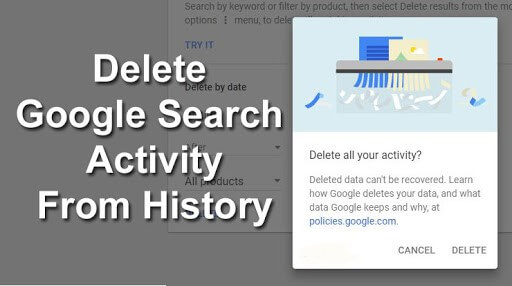 delete google activity,delete search history,clear activity of google,erase